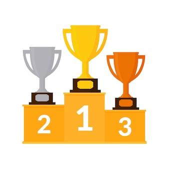 Illustrazione vincitori podio con coppe trofeo isolato Vettore Premium