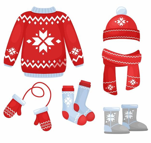 Illustrazione della collezione di abiti invernali. cappello e sciarpa lavorati a maglia, calzini, guanti, maglione nello stile di natale isolato su fondo bianco nello stile piano del fumetto.