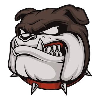 Illustrazione con bulldog arrabbiato. logo con testa di cane. isolato su sfondo bianco.
