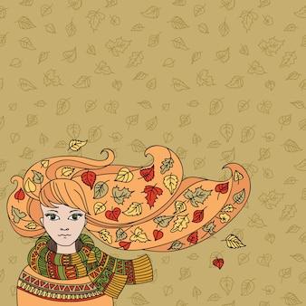 Illustrazione con la ragazza di autunno e le foglie che cadono Vettore Premium