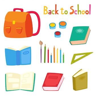 Illustrazione con zaino, matite, libri, ritorno a scuola o insegnanti e studenti giorno insieme isolato su bianco.