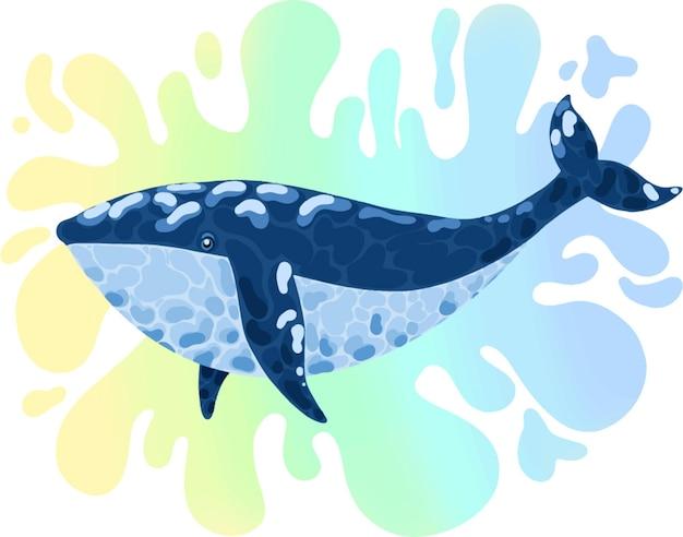 Illustrazione con balena blu e punto luminoso colorato