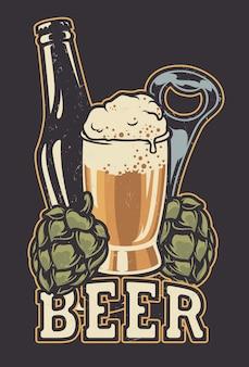 Illustrazione con una bottiglia di birra e coni di luppolo.