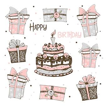 Illustrazione con torta e regali di compleanno. stile doodle
