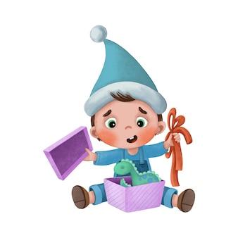 Illustrazione con ragazzo cartone animato che apre un regalo di capodanno
