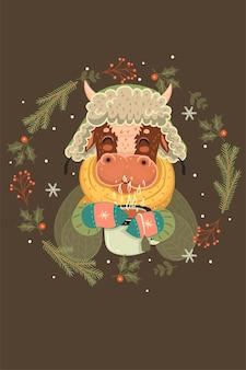 Illustrazione con un toro di natale ed elementi decorativi.