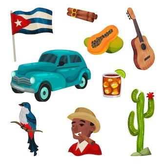 Illustrazione con cultura cubana. immagini di oggetti tradizionali.