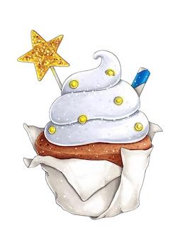 Illustrazione con cupcake, biscotti a forma di stella e tubo per cocktail