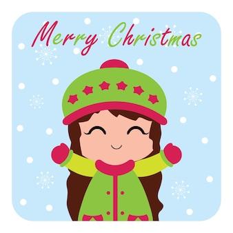 Illustrazione con la ragazza carina è felice godere caduta di neve adatto per la progettazione di schede chritsmas