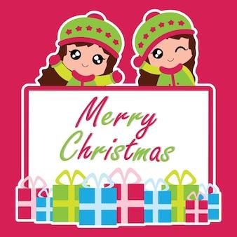Illustrazione con due ragazze carine e regali di scatola di natale adatti per la progettazione di carte chritsmas