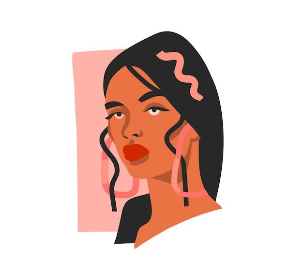 Illustrazione con ritratto di bella donna tribale etnica in stile semplice moda alla moda
