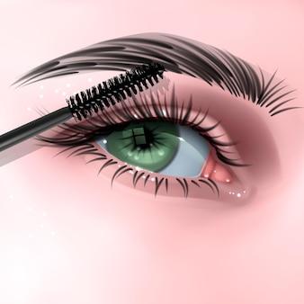 Illustrazione con ciglia lunghe occhio femminile e illustrazione pennello mascara in stile realistico