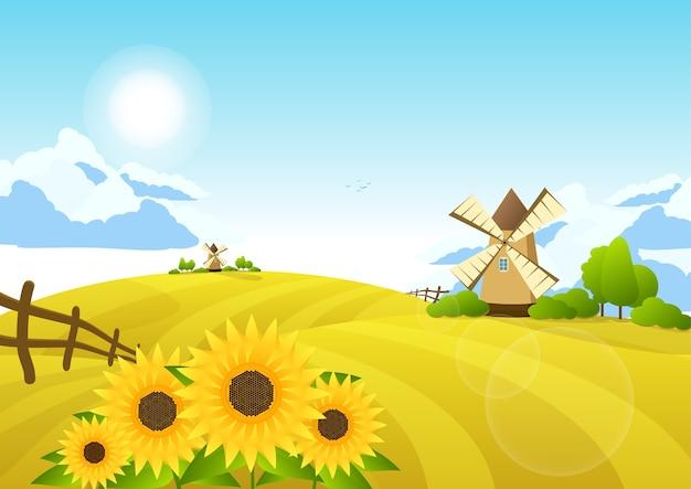 Illustrazione con campi e mulini a vento. paesaggio rurale.