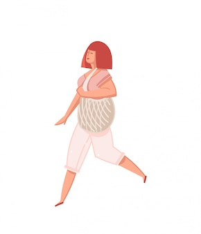 Illustrazione con persona ragazza con sacchetto dei rifiuti zero isolato su sfondo bianco