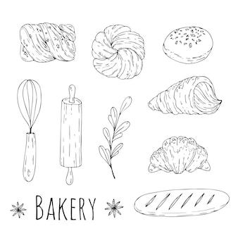 Illustrazione con elementi di panetteria doodle disegnati a mano. progettazione di menu, carta da regalo per negozi.