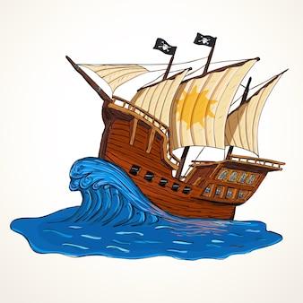 Illustrazione con nave pirata disegnata a mano sull'onda. concetto di avventure estive.