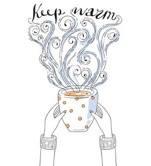 Illustrazione con le mani che tengono la tazza di caffè. scritta