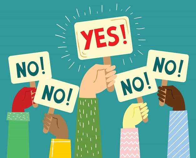 Illustrazione con mani in possesso di segno diverso nel design piatto minimalista. sì o no concept design sulla motivazione e fare la scelta giusta.