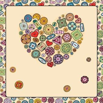 Illustrazione con cuore di bottoni colorati