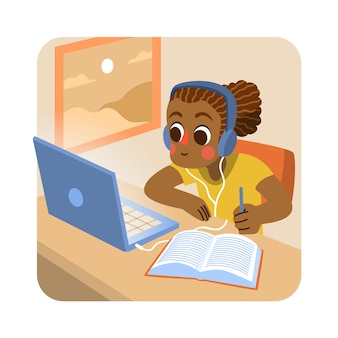 Illustrazione con bambini che prendono lezioni