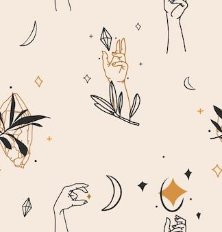 Illustrazione con elemento logo, modello senza cuciture line art di mani umane, mezzaluna, cristalli