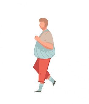 Illustrazione con persona uomo con sacco rifiuti zero isolato su sfondo bianco