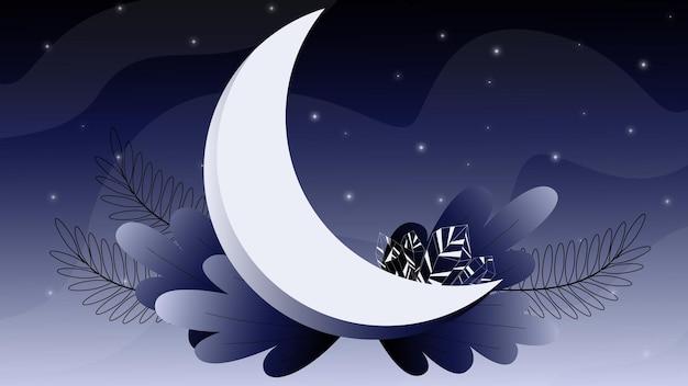 Illustrazione con luna e cristalli immagine cosmica cielo notturno cristallo al chiaro di luna
