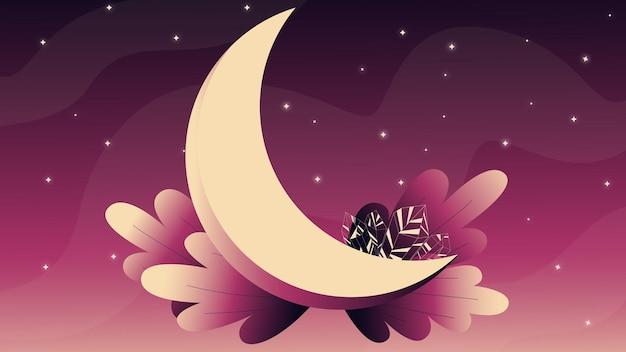 Illustrazione con luna e cristalli immagine cosmica cielo notturno chiaro di luna