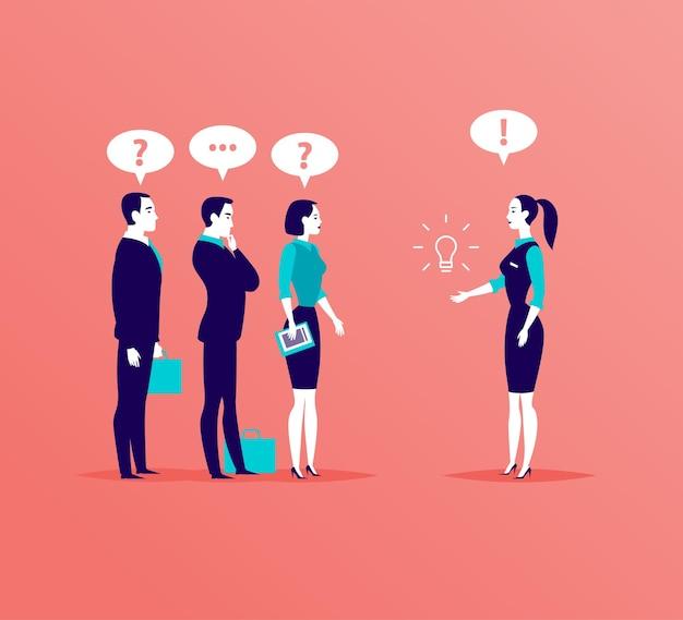 Illustrazione con persone in ufficio in piedi e parlando