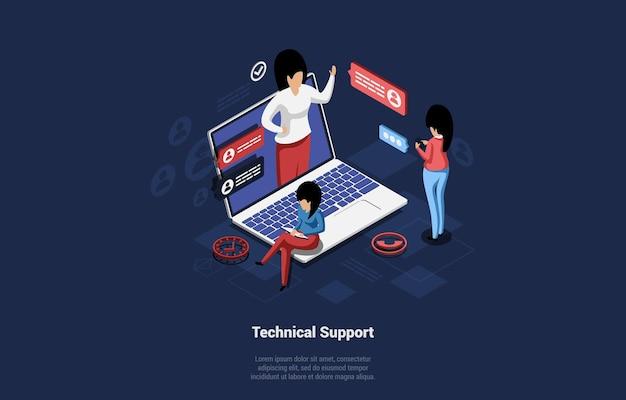 Illustrazione con persone che comunicano. concetto di supporto tecnico con la scrittura su sfondo scuro. le donne isometriche dei cartoni animati hanno videochiamata remota o chattare con l'aiutante per risolvere il problema.