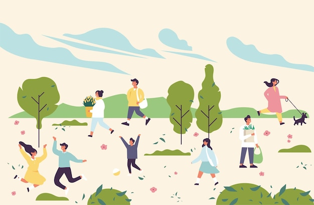 Illustrazione con persone che si godono e rilassano il loro tempo all'aperto nel parco