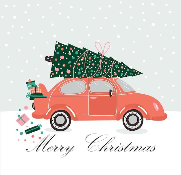 Illustrazione con pick up auto e regali di natale e albero.