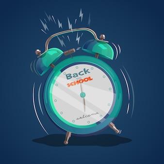 Illustrazione con una sveglia che squilla. di nuovo a scuola. design piatto. illustrazione vettoriale
