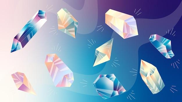 Illustrazione con stelle e cristalli immagine cosmica di cristallo