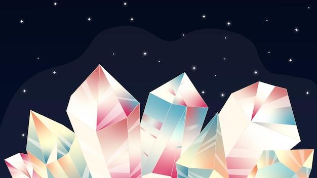 Illustrazione con stelle e cristalli immagine cosmica cielo notturno cristallo al chiaro di luna