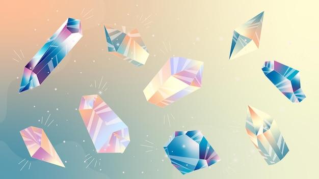 Illustrazione con stelle e cristalli immagine spaziale cristallo