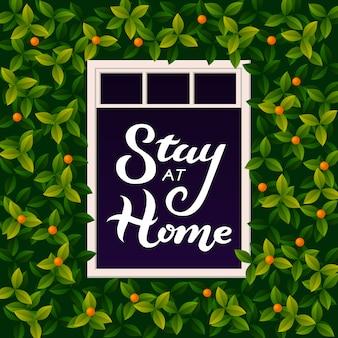 Illustrazione con rimanere a casa lettering testo nella finestra aperta. un'iscrizione che esorta le persone a rimanere a casa durante l'epidemia. covid-19