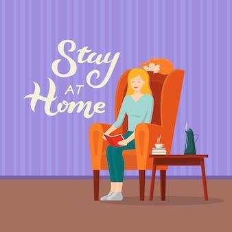 Illustrazione con stay at home lettering testo e libro di lettura della donna in sedia con il gatto. un'iscrizione che esorta le persone a rimanere a casa durante l'epidemia. covid-19