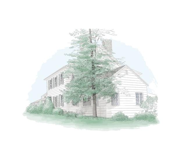 Illustrazione con palazzo in stile, grande albero di fronte, tenuta di campagna. edificio storico