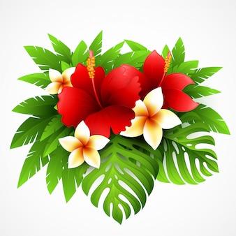 Illustrazione con piante e fiori tropicali