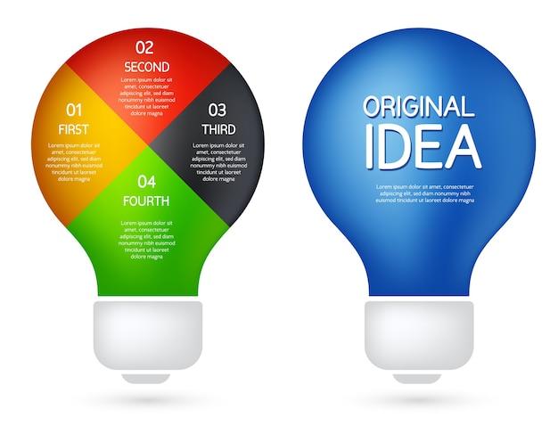 Illustrazione con due tipi di lampadina. stile piano di progettazione infografica idea imprenditoriale