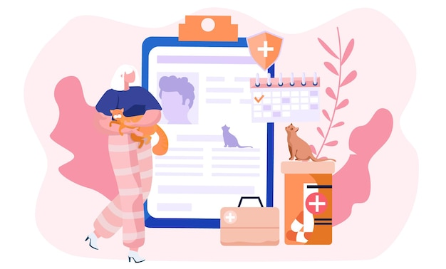 Illustrazione con la donna che tiene un gatto nelle sue mani