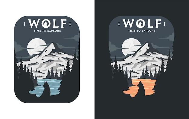 Illustrazione di un lupo nella foresta che si gode la natura