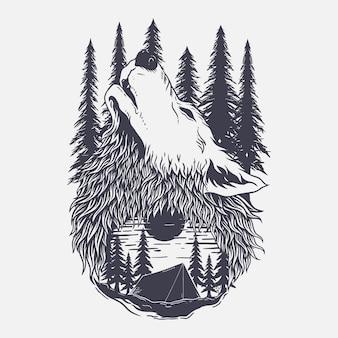 Illustrazione lupo e foresta