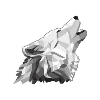 Illustrazione del disegno vettoriale della testa laterale lowpoly di lupo buono per il design della maglietta