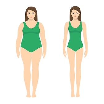 Illustrazione di una donna prima e dopo la perdita di peso. corpo femminile in stile piatto. dieta di successo e concetto di sport. ragazze magre e grasse.
