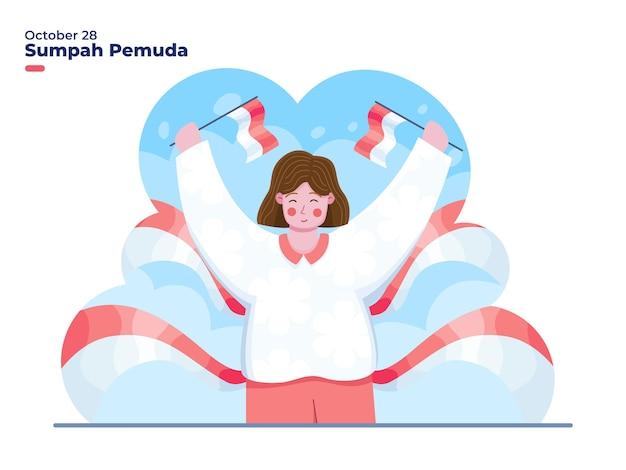 Illustrazione di una donna felice che celebra la giornata dell'impegno giovanile dell'indonesia il 28 ottobre