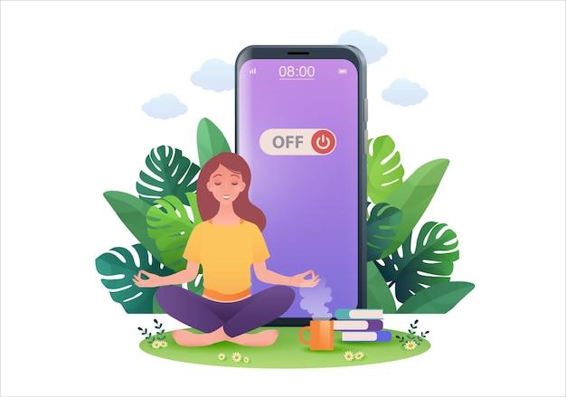 Illustrazione della donna nella posa del loto che si ritira dai social media spegnendo lo smartphone