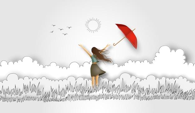 Illustrazione della festa della donna, bella ragazza divertente e ombrello rosso sul campo. arte della carta e stile di disegno a mano.
