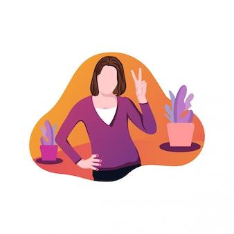 Illustrazione del vettore di giorno della mano di una donna